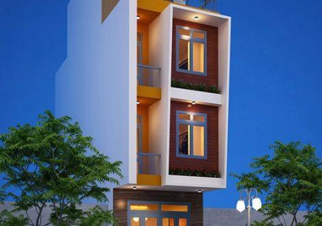 nhà 1 trệt 2 lầu sân thượng