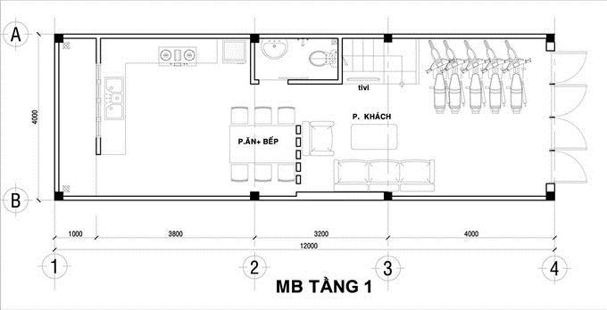 mặt bằng tầng 1 XÂY NHÀ 4 TẦNG 50 m2