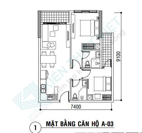 Thiết kế nội thất căn hộ 70 m2
