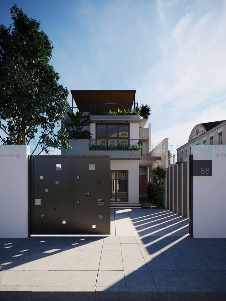biệt thự phố 2 tầng  phong cách hiện đại