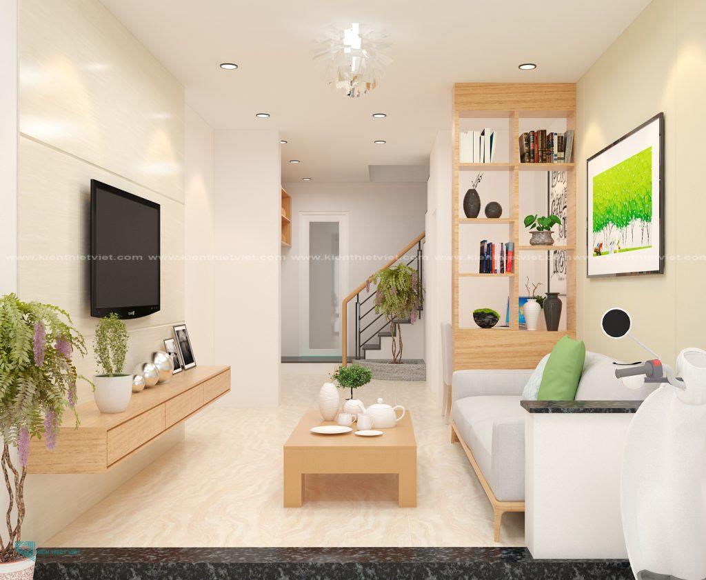thiết kế phòng khách nhà 3 tầng
