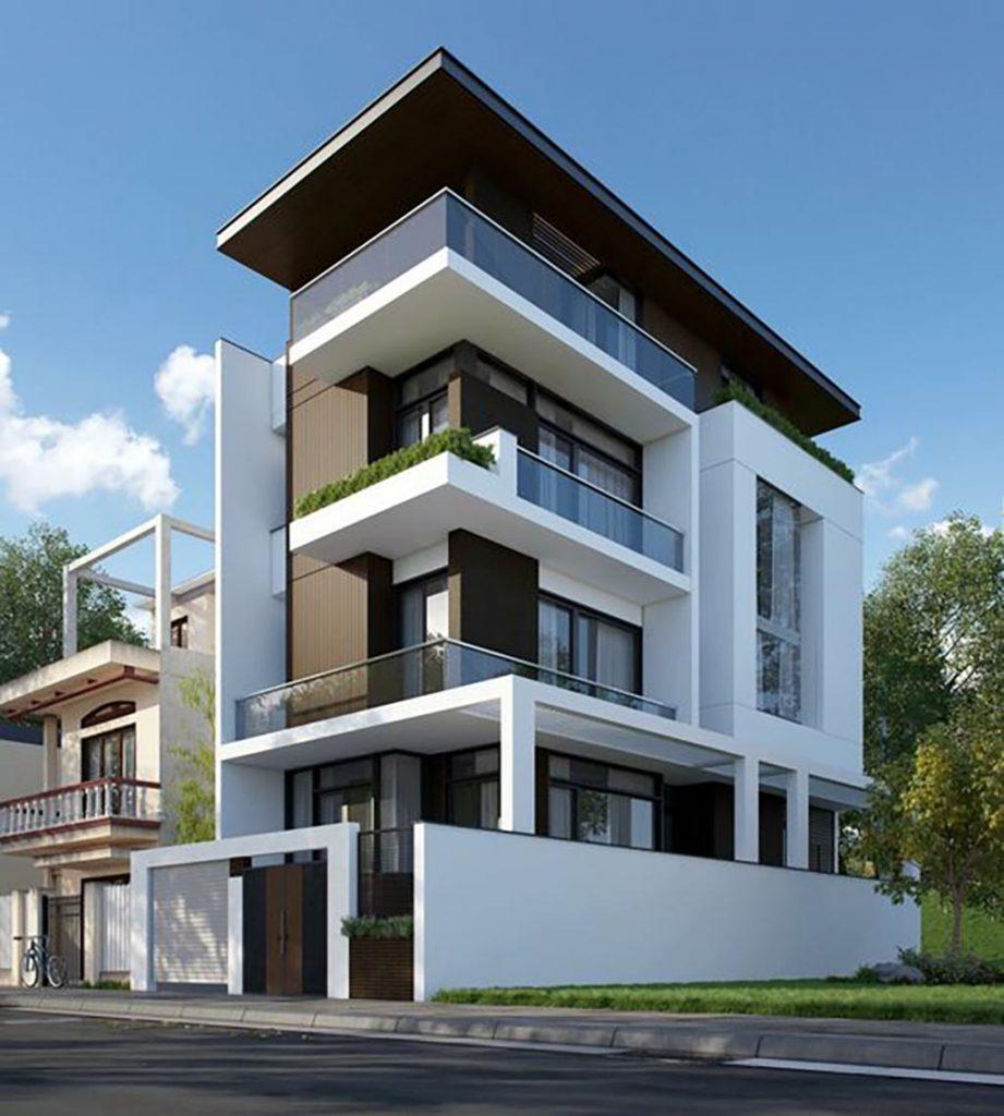 mẫu nhà 2 mặt tiền 4 tầng 4