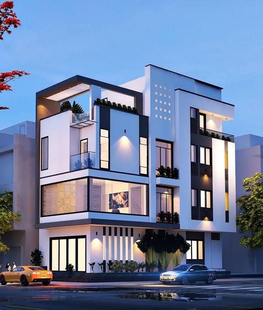 mẫu nhà 2 mặt tiền 4 tầng 5