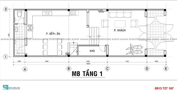 Bản vẻ mẫu nhà 3 tầng