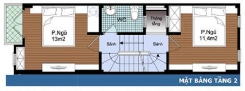 thiết kế nhà 2 tầng 400 triệu 2 phòng ngủ