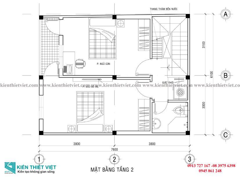 NHÀ 2 TẦNG 40 m2 mặt bằng tầng 2