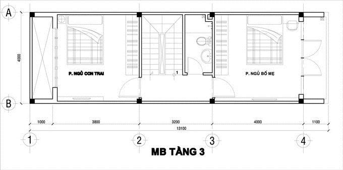 mặt bằng tầng 3 XÂY NHÀ 4 TẦNG 50 m2