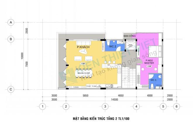 mặt bằng tầng 2 NHÀ PHỐ 3 TẦNG 140 m2