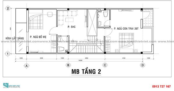 Bản vẻ mặt bằng tầng 2 mẫu nhà 3 tầng