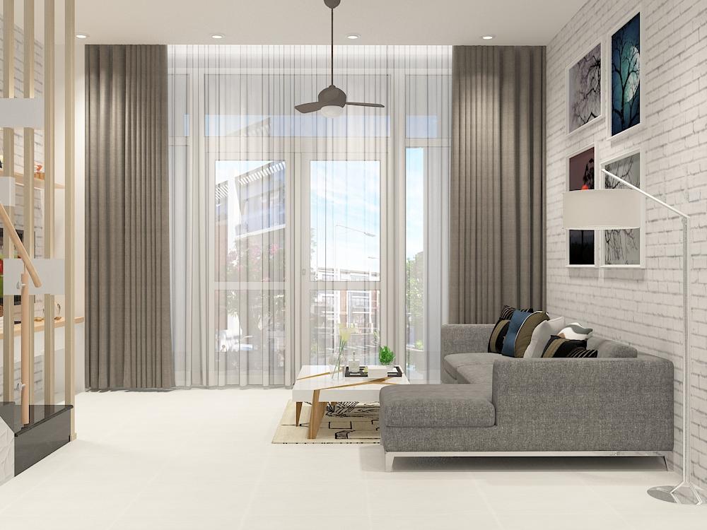 thiết kế nội thất phòng khách nhà 2 tầng