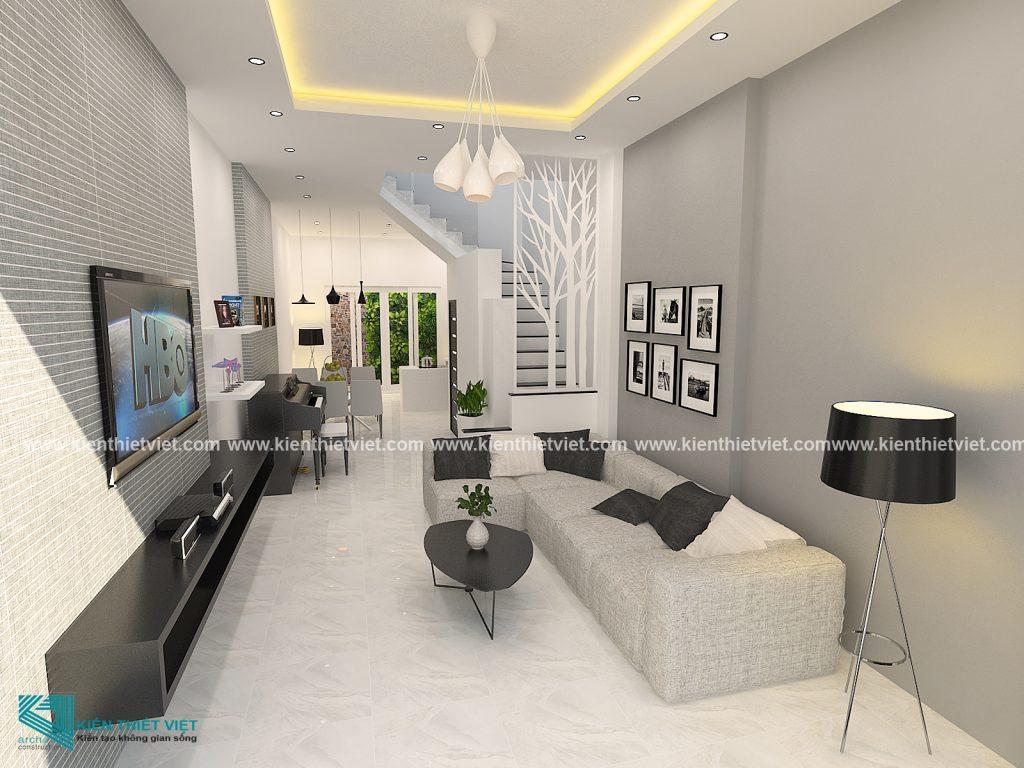 Phòng khách nhà ống 3 tầng