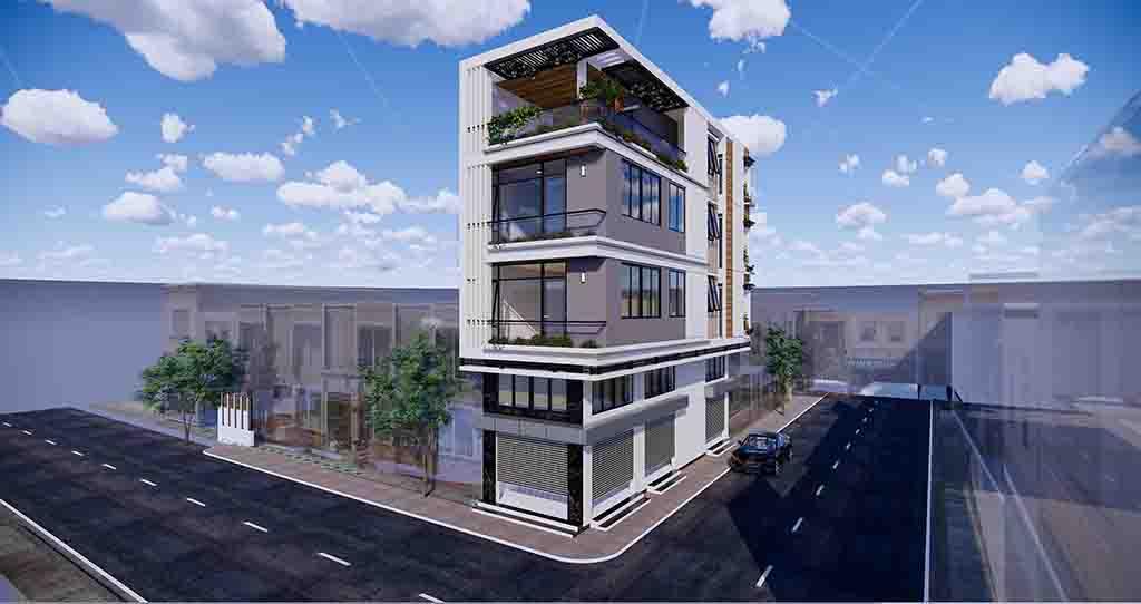 mẫu nhà 2 mặt tiền 4 tầng 1