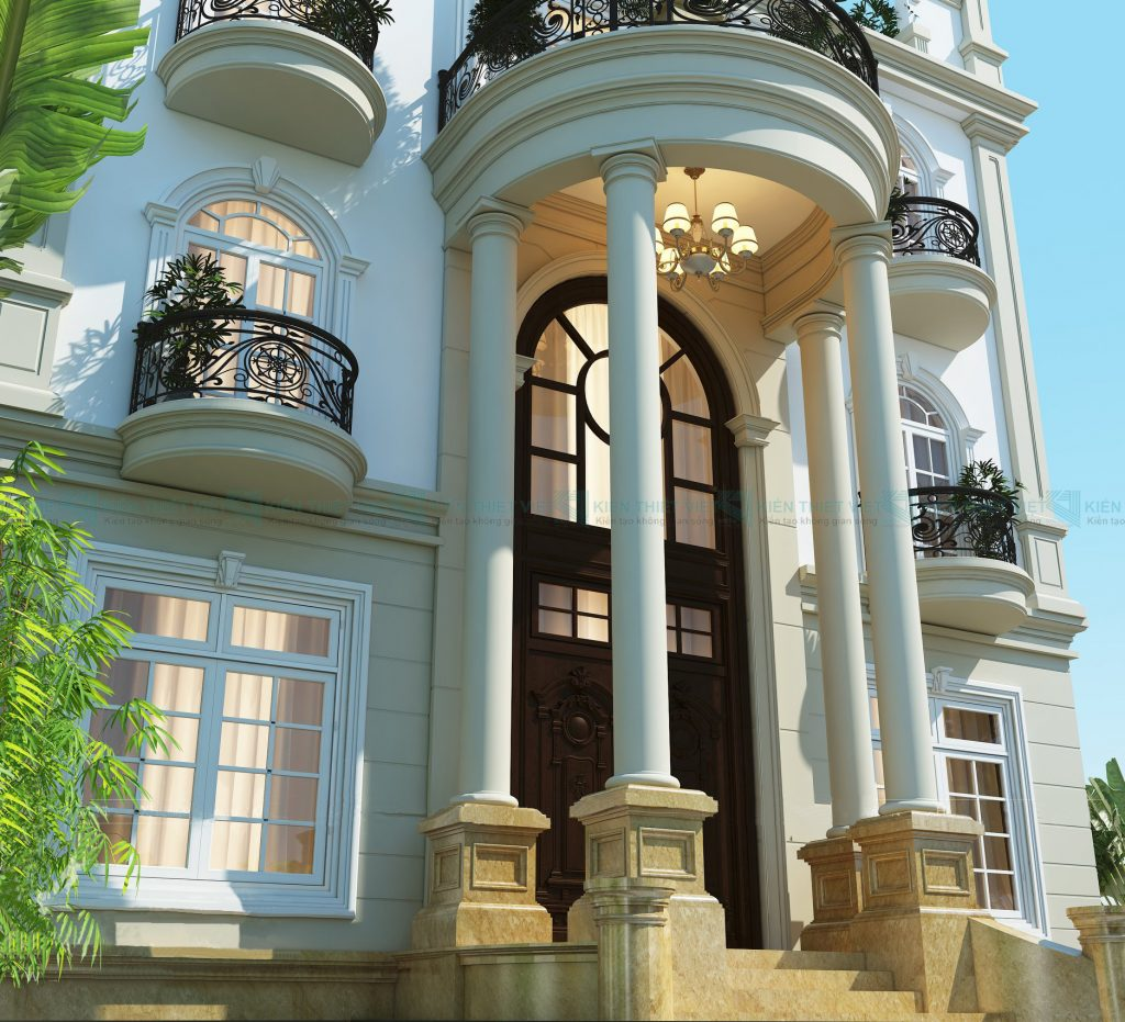 thiết kế biệt thự cổ điển 3 tầng 5