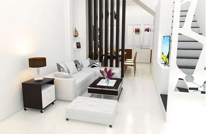 Phòng khách XÂY NHÀ 4 TẦNG 50 m2