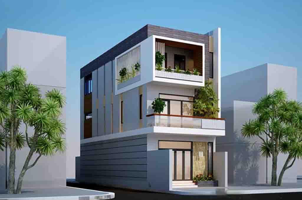 mẫu nhà 2 mặt tiền 3 tầng số 4