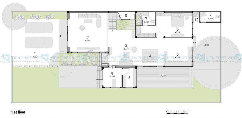 thiết kế biệt thự phố 2 tầng  phong cách hiện đại