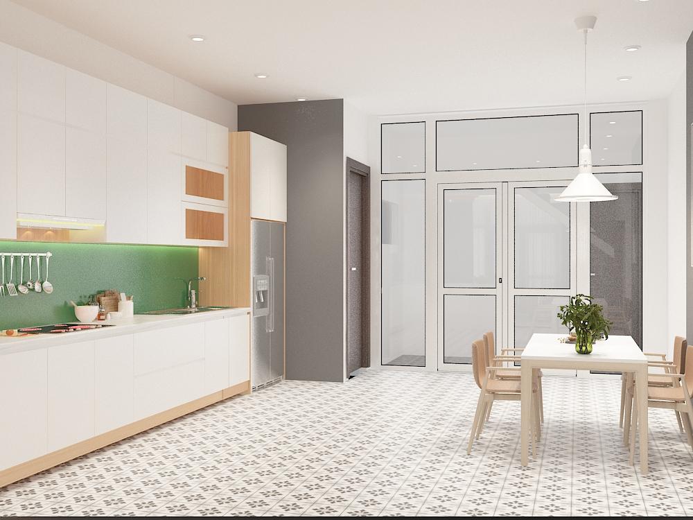 Thiết kế nội thất phòng bếp nhà 2 tầng 80 m2