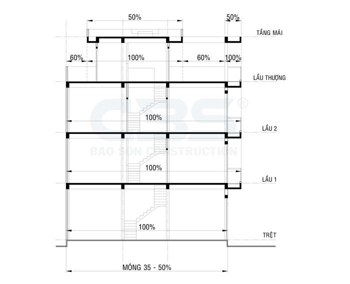ví dụ về tính diện tích nhà ống 3 tầng