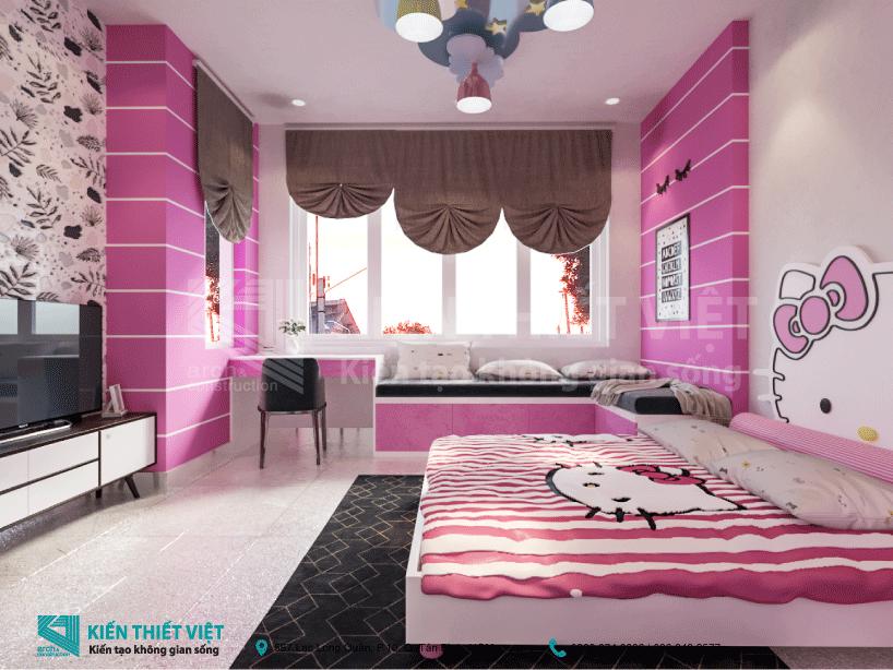 Phòng ngủ cho con gái nhà 3 tầng 700 triệu