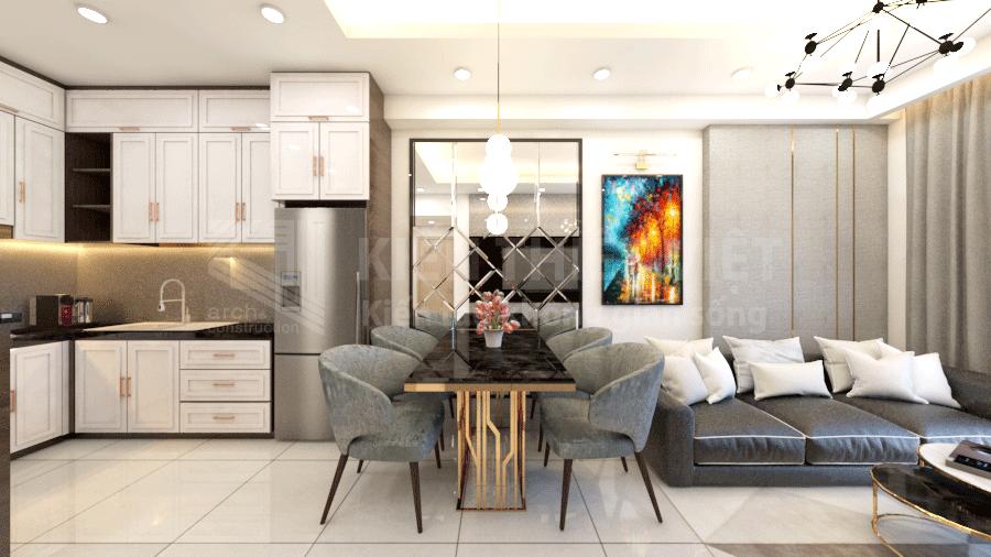 Thiết kế phòng khách bếp căn hộ richstar