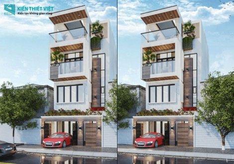 thiết kế nhà phố 1 trệt 2 lầu 1 sân thượng