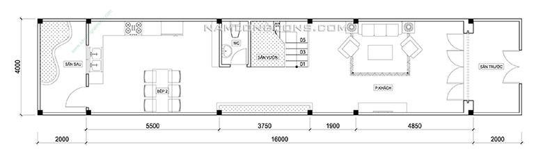 Mặt bằng tầng trệt nhà 4 tầng 4x20 m2