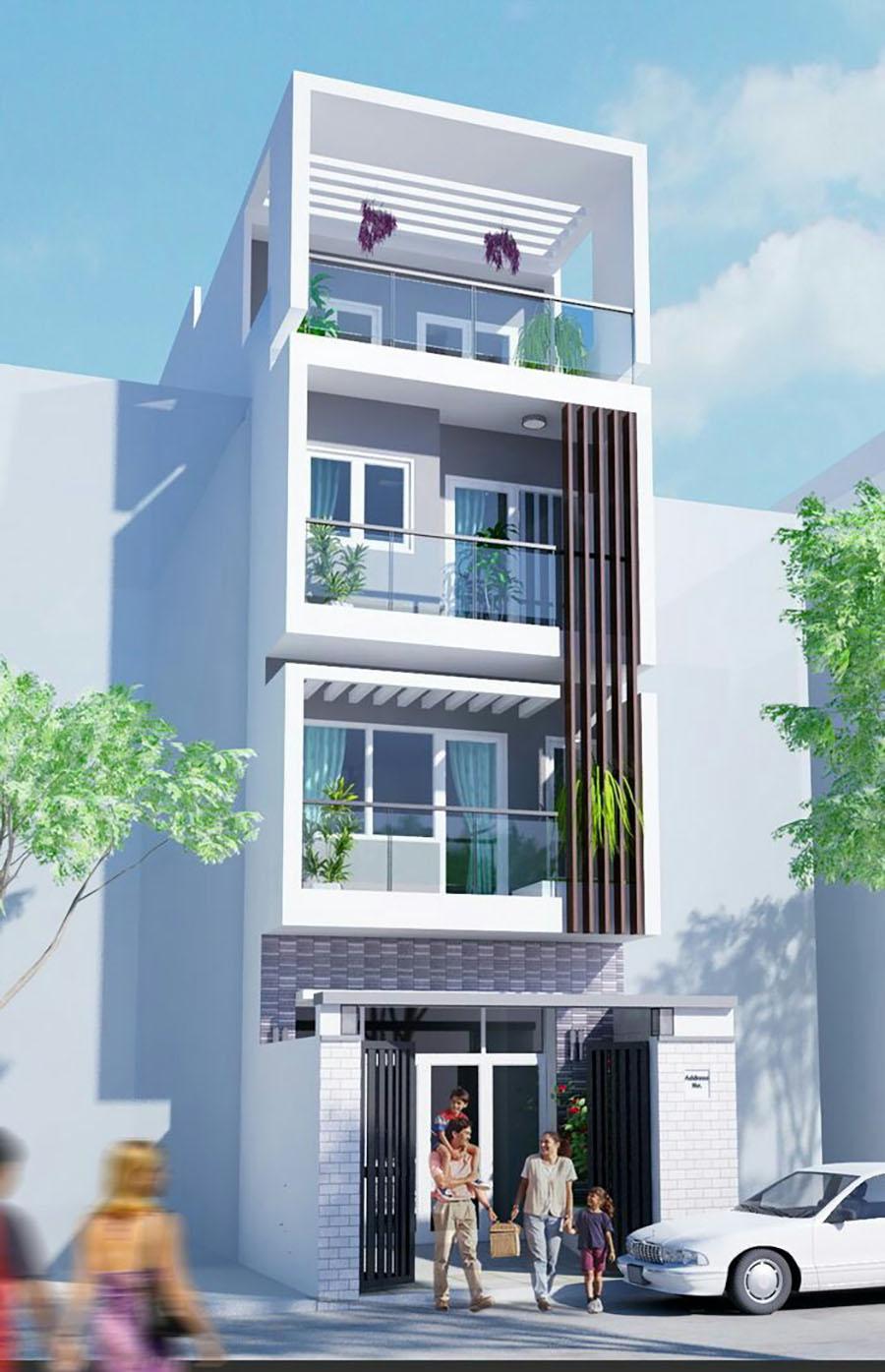 mẫu nhà phố 4 tầng 14