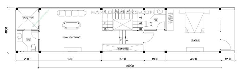 Mặt bằng lầu 2 nhà 4 tầng 4x20 m2
