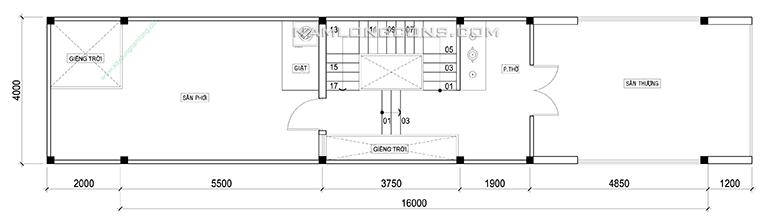 Mặt bằng lầu 3 nhà 4 tầng 4x20 m2