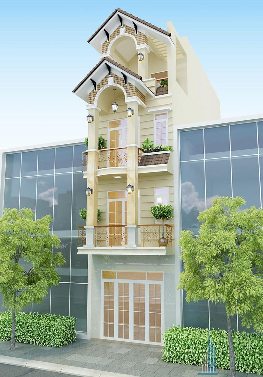 mẫu nhà phố 4 tầng 4