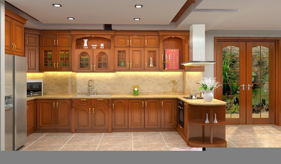 tủ bếp gỗ tự nhiên 2