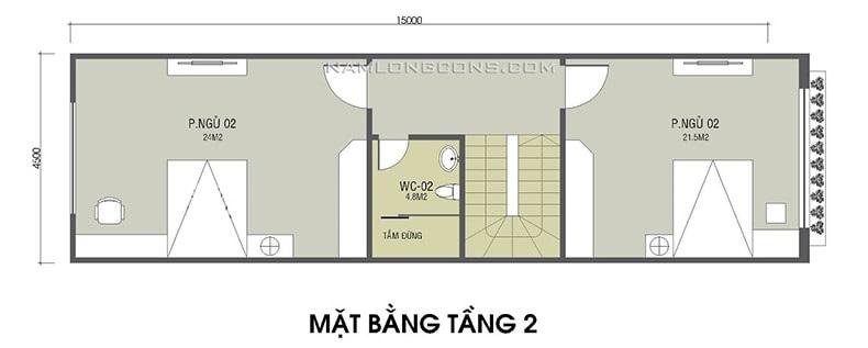 bản vẽ mặt bằng tầng 2 ngôi nhà 1 trệt 1 lầu 4x15