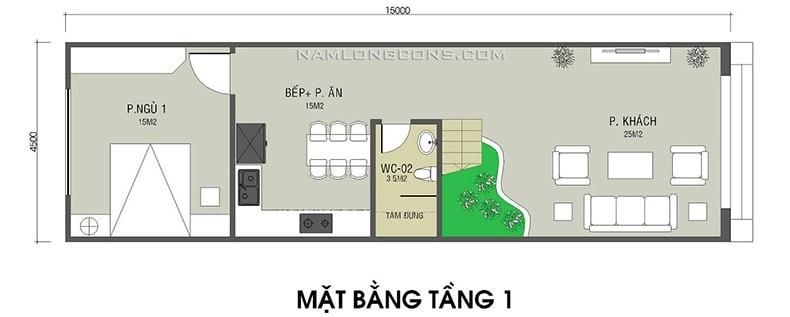 bản vẽ mặt bằng tầng 1 ngôi nhà 1 trệt 1 lầu 4x15