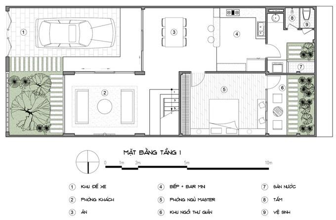 Bản vẽ thiết kế mặt bằng tầng 1 nhà 3 tầng 2 phòng ngủ