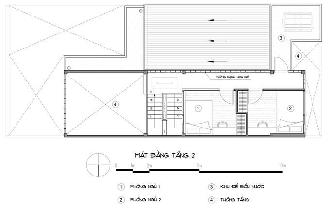 Bản vẽ thiết kế mặt bằng tầng 2 nhà 3 tầng 2 phòng ngủ