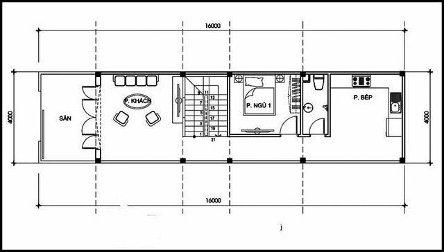thiết kế mặt bằng tầng 1 nhà 2 tầng 3 phòng ngủ