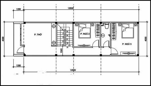 thiết kế mặt bằng tầng 2 nhà 2 tầng 3 phòng ngủ