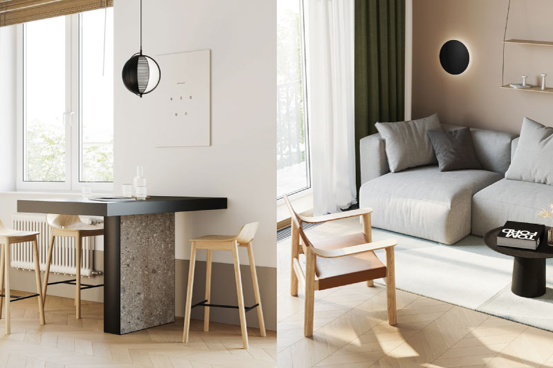 không gian bếp và phòng khách