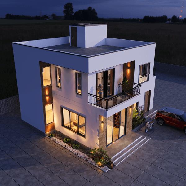 thiết kế biệt thự mini 2 tầng