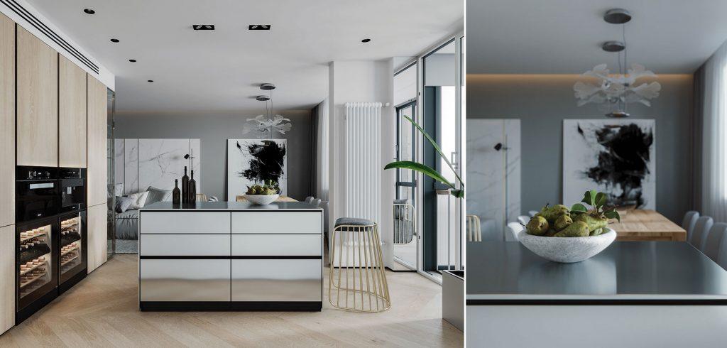 Thiết kế nội thất bếp căn hộ chung cư 102m2 2 phòng ngủ