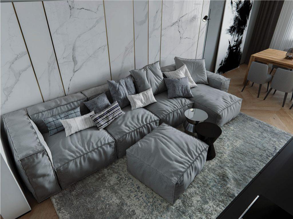 Không gian phòng khách căn hộ 102m2