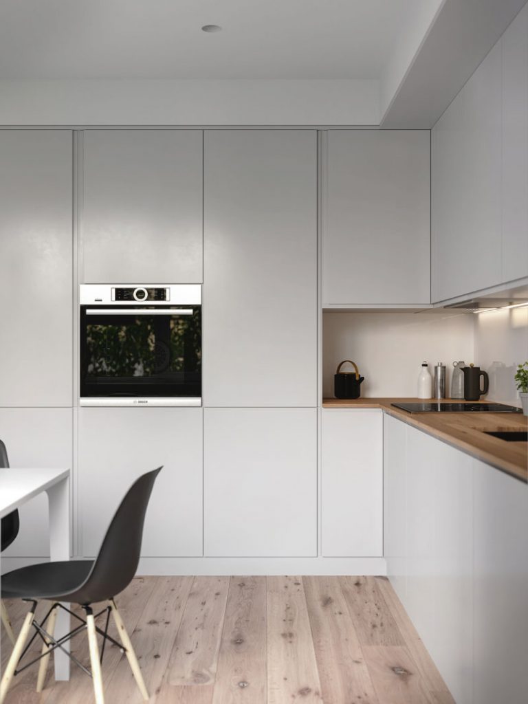thiết kế tủ và kệ bếp căn hộ 50m2