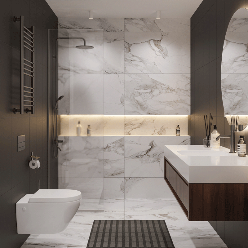 thiết kế nội thất phòng tắm căn hộ chung cư 82m2