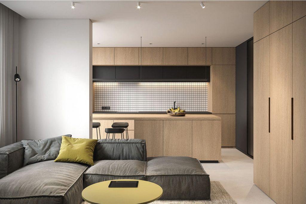 Tổng thể không gian phòng khách và bếp