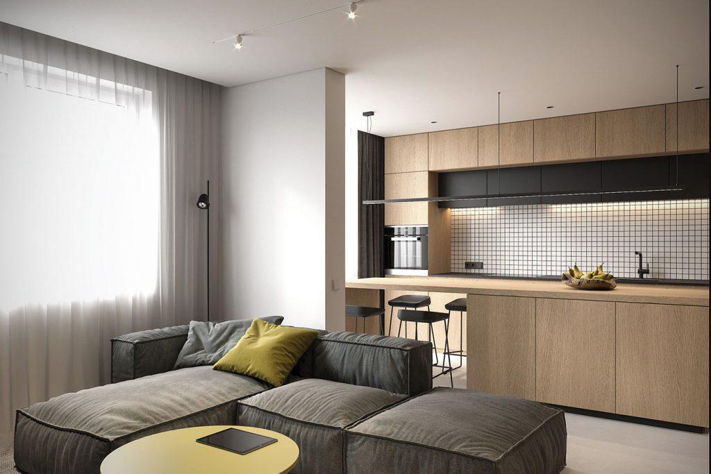 không gian phòng khách và bếp liên thông