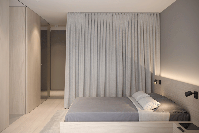 Phòng ngủ được ngăn cách bởi rèm