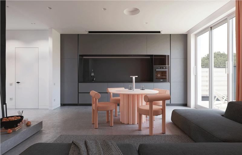 thiết kế bếp liên thông phòng khách