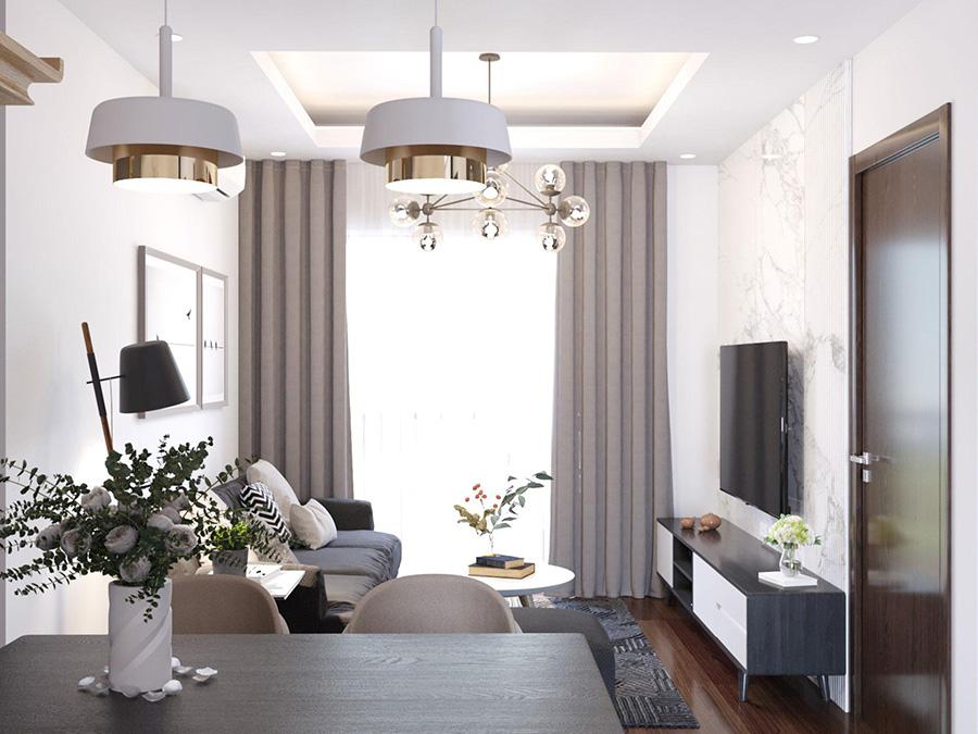 Thiết kế nội thất căn hộ 50 m2 2 phòng ngủ 01