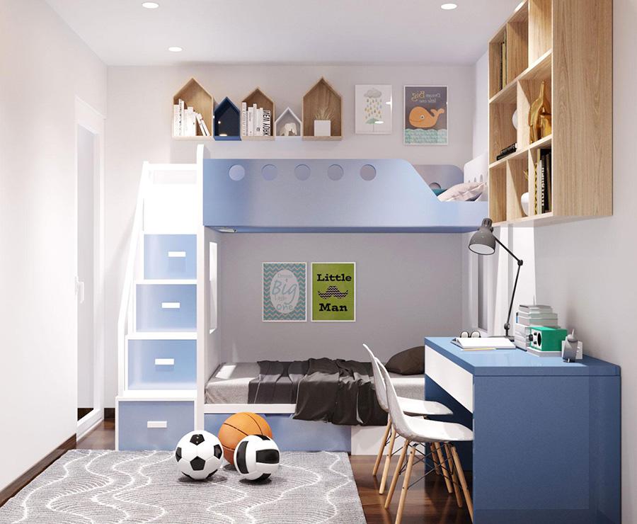thiết kế nội thất phòng ngủ cho 2 con trai