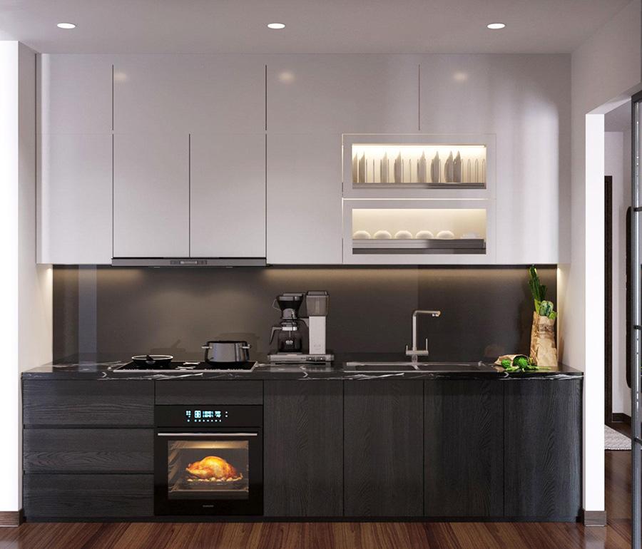 thiết kế nội thất phòng bếp căn hộ 50m2
